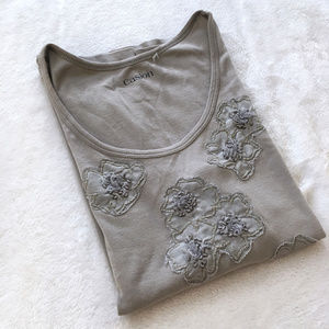 Light Grey Caslon Tee with Floral Details